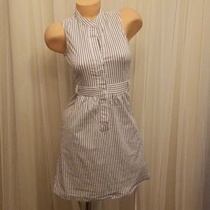 Venus Navy and Cream Striped Mini Dress Size 4